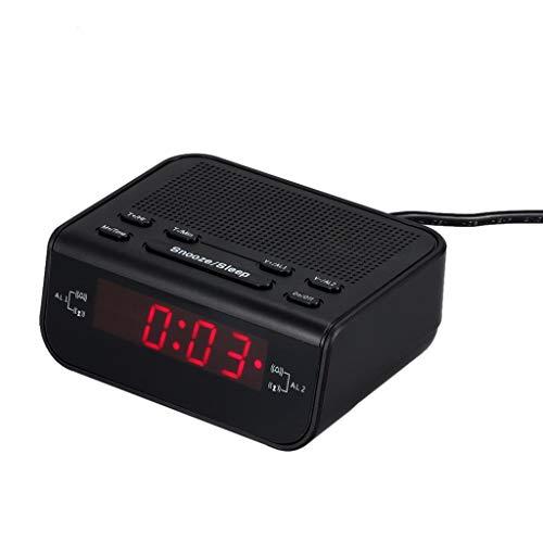 SUCHUANGUANG Radio Reloj Despertador FM Digital Temporizador de sueño de Alarma Dual LED Rojo Pantalla de Tiempo Reloj Despertador SZ