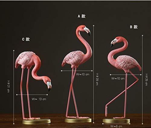 THREE Creativo Resina Linda Estatuas de flamencos Decoración para el hogar Artesanía Animal Decoración Objetos Artes Regalos, Juegos de ABC