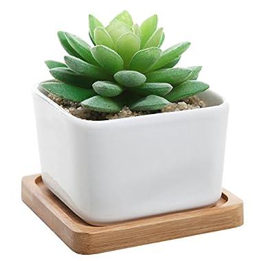 Modern Decorative Small White Square Ceramic Succulent Plant Pot w/ Bamboo Draining Tray - MyGift