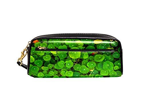 Clover Lucky Green Floral Lápiz Case PU Cuero Papelería Bolsa Estuche Escolar Caja de Lápiz de las Mujeres Bolsa de Cosméticos