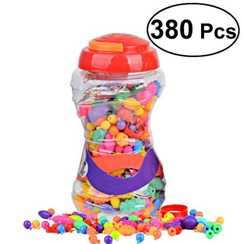 Rosenice - Juego de 380 piezas para niños con broches de broche, para hacer joyas y collares, anillos, pulseras y manualidades, juguetes de regalo para niños y niñas