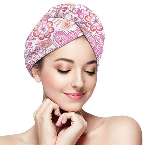 N/A Serviette à cheveux en microfibre Turban à séchage rapide Bonnet de bain Fleurs romantiques Saint Valentin Illustration mignon coeur oiseau papillons
