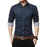 Camisas Casual Hombre Manga Larga, Covermason Nueva Camisa a Cuadros Casual a Cuadros para Hombres de otoño