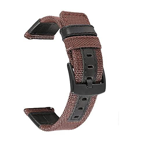 SCDZS Nylon horlogeband Met canvasband voor armbandband 20 mm 22 mm horlogeaccessoires (Color : Brown, Size : 22mm)