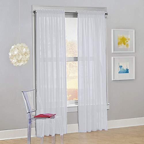 Decotex Set of 2 Sheer Voile Transparent Window Panel Curtain Drapes (54' W X 84' L, White)