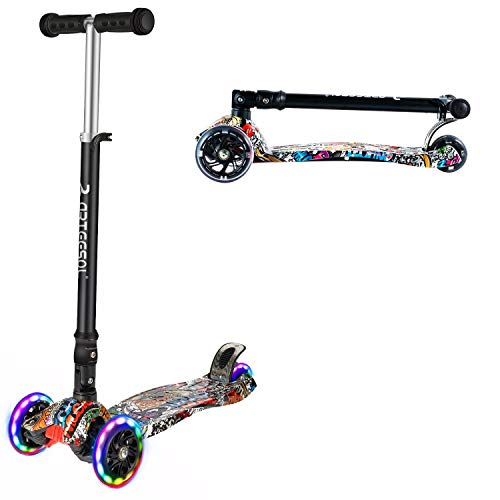 arteesol kinderscooter, Faltbarer urbaner Scooter Tretroller, höhenverstellbarer Roller mit Graffiti Deck, mit 125mm PU blitzrädern, geeignet für Jungen und mädchen von 2-16 Jahren (Stil 2)
