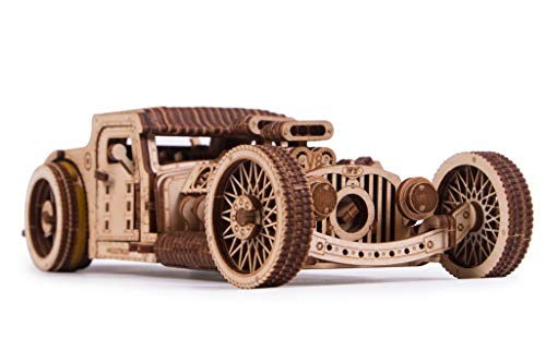 Wood Trick Hot Rod Wooden Model Car Kit to Build - Rides up to 32 feet - Very Detailed and Sturdy - No Batteries - 3D Wooden Puzzle - Mechanical