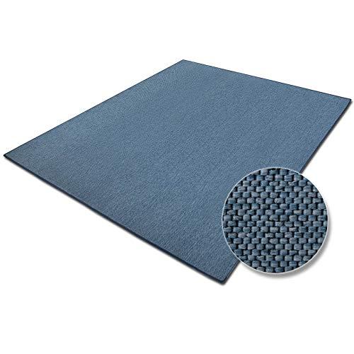 casa pura Teppich Sabang | viele Farben und Größen | Flachgewebe, Sisaloptik | Qualitätsprodukt aus Deutschland | GUT Siegel | für Wohnzimmer, Kinderzimmer, Flur etc. (blau, 200x240cm)
