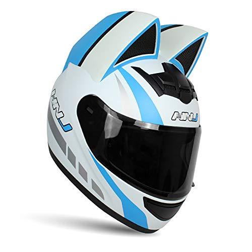 JJXD Motorcycle Full Helmet with Cat Ears Flip Visor Unisex Adult Modular Helmet, Cross-Country Motorcycle Mountain Bike ATV Helmet DOT Certification (54~62 cm),M