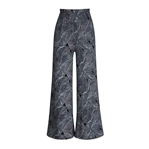 RISTHY Pantalones Acampanados Mujer Pantalón Palazzo de Pierna Ancha Cintura Alta Casual Estampado Floral Baggy Pantalones de Verano Otoño para Mujeres