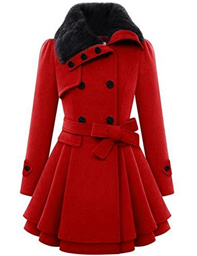 Zeagoo Women Long Sleeve Faux Fur Lapel Double-Breasted Thick Wool Coat, Red, Medium