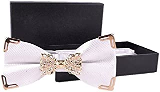 Hello Tie Woven Solid Silver Dot Gold Edge Luxurious Pre-tied Bow Ties Gift Box