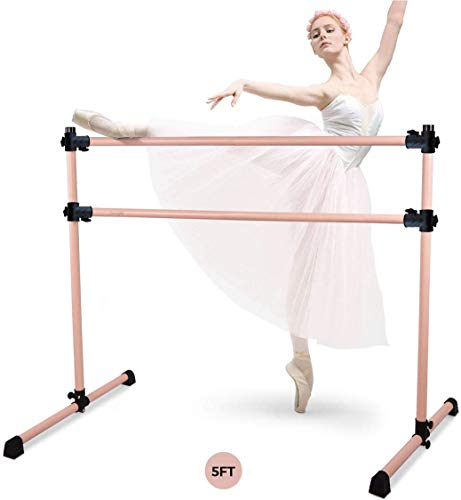 Yes4All Double Aluminum Freestanding Ballet Barre- 5 FT- Rose Gold