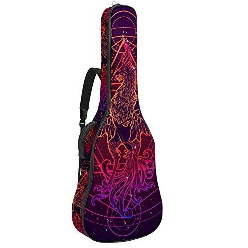 Bolsa de guitarra Bolsa de guitarra para guitarras eléctricas Tela Oxford impermeable Bolsa de guitarra 2 bolsas de almacenamiento Fénix rojo púrpura 42.9x16.9x4.7 in