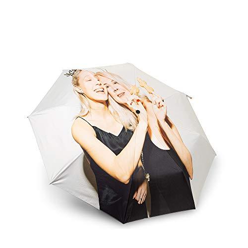 Jewelora Regenschirm Personalisierter Foto Regenschirm - Taschenschirme bis 140 km/h Damen Schirm mit Auf-Zu-Automatik - windsicherer Taschenschirm, Etui und Teflon-Beschichtung