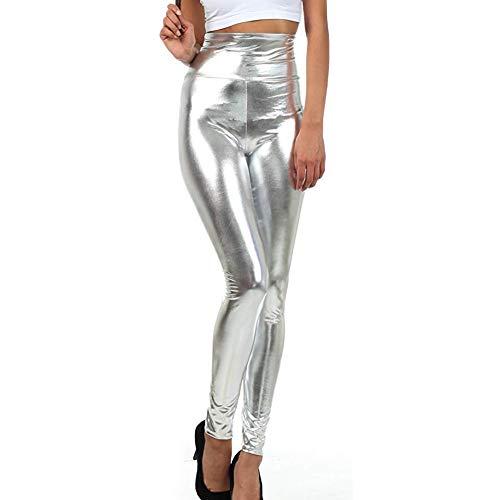 MEIbax Leggings Mujer Elasticos Pantalones de Cintura Alta y Cremallera metálico Brillante de lápiz Fiesta de Las Polainas de Alta Elasticidad Gimnasia De Cuero Activos PU Cuero Skinny Leotardos