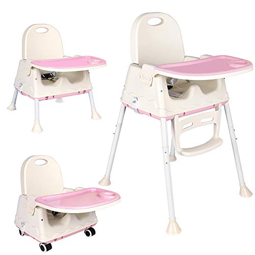 Innotic 3-in-1 Portable Highchair Pink Baby High Chairs Safe Meal Tray Toddler's or a Dining Chair for Your Baby(3 Months up)