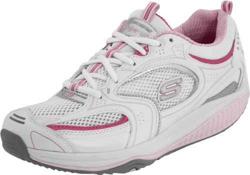 Skechers Women's Shape Ups XF Accelerators Lace-Up Fashion Sneaker,White Pink,9 M US