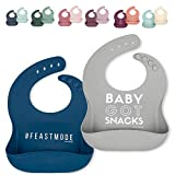 Ava + Oliver Silicone Bib Set - Adjustable, Waterproof - Set of 2 (Navy/Gray)