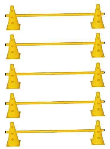 5er Steckhürdenset Koordinationstraining für Kinder sowie Teamsport z.B. Fussball, Handball, usw. und Agility Hürden Set für Hundesport - 10x Mehrzweckkegel: 23 cm, gelb / 5X Stange: 100 cm, gelb