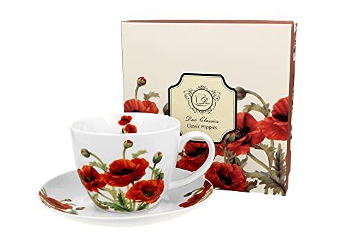 DUO Kaffeetasse und Untertasse Classic Mohn 380ml Henkeltasse Unterteller große Henkel-Tasse Kaffee-Tasse Mohnblumen Mohn Unter-Tasse Art Porzellan Unter-Teller Blumenmotiv Blumen