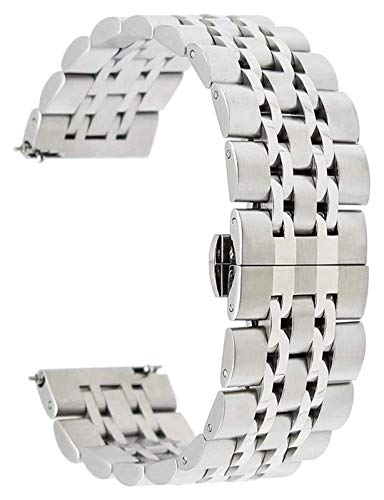 WUTONG 20mm 22mm Stainless Steel Watch Band Universal Watchband Butterfly Buckle Strap Quick Release Wrist Belt Bracelet + Spring Bar Watch Strap smart watch strap (Color : 22mm, Size : Silver)