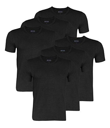 Hugo Boss Herren T-Shirts Business Shirts Crew Neck 50325388 6er Pack, Farbe:Schwarz;Größe:XL;Artikel:-001 Black