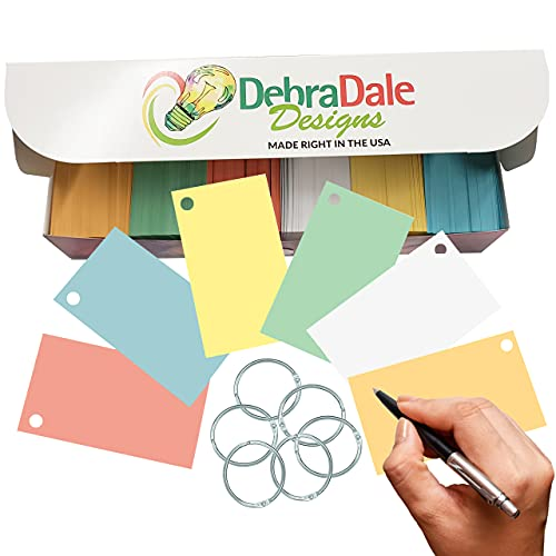 Debra Dale Designs - 1,100 Small Colored Index Cards - Five Colors + White - Best Value - 2' x 3.5' - Made RIGHT here in the USA - Bonus Premium Storage Box with Lid - Use for Notes, Flashcards, Tags