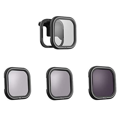 MLQ Juegos de filtros a Prueba de Agua para cámaras, CPL ND8 ND16 ND32 Filtros Protector de Lente con Adaptador Accesorios de Lente, Compatible con GoPro Hero 8