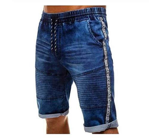 AGAOXING Short de Sport Short plissé en Denim, Short décontracté à Taille Basse pour Homme d'été, Short en Jean Stretch, M