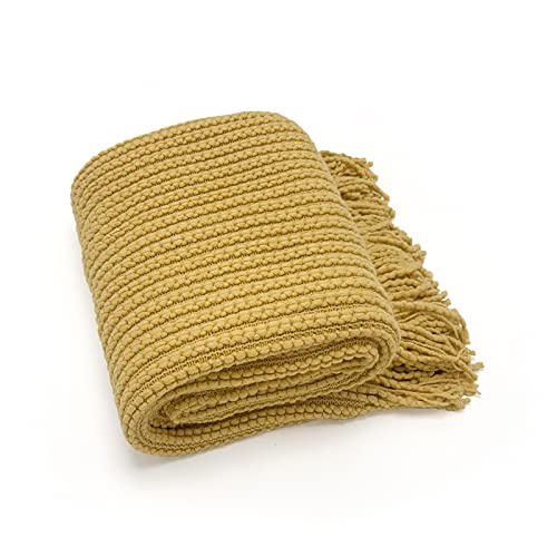 ANDSTAR 100% Acrylic Decorative Weave Throw Blanket Extra Soft Knitted Blanket with Tassels Textured Lightweight Blanket for Sofa Couch Bed and Living Room Home Decor All Seasons(Yellow, 50'' x 60'')