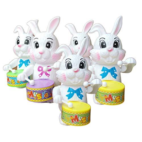 STOBOK Wickeln Sie Oben Trommelndes Kaninchen Spielt Uhrwerkspieltrommelhäschenfrühling Gehendes Tier Spielt Ostern-Verzierungs-Gastgeschenke Kindergeschenk 5Pcs