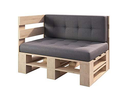 sunnypillow Palettenmöbel Gartenmöbel Set aus Holz Indoor/Outdoor Europaletten Möbel Sofa fürBalkon Terrasse Garten Natur Eckbank 120 x 80 cm Höhe : 30 cm