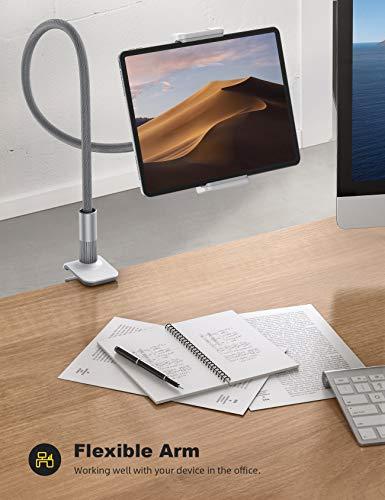 Lamicall Schwanenhals Tablet Halter, Tablet Halterung - Lazy Flexible Einstellbare Lang Arm Ständer für iPad Mini 2 3 4, Neu iPad Pro 2020, iPad Air, iPhone, und Weitere 4,7-10,5 Zoll Geräte - Grau