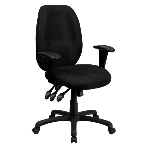 Flash Furniture High Back Black Fabric Multifunction Ergonomic Executive Swivel Office Chair with Adjustable Arms, BIFMA Certified