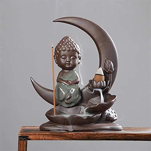 HJXSXHZ366 La Luna de Lotus Titular de Palo de Incienso de la Porcelana Monje Incienso incensario de la decoración del hogar Humo Cascada de reflujo (Color : B)