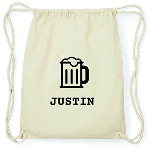 JOllify Turnbeutel - Happy Birthday - für Justin - Bier Gruß