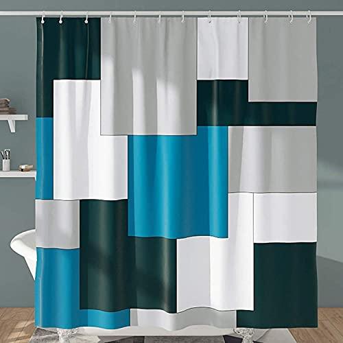 DESIHOM Moderner grau-blauer Duschvorhang für das Badezimmer, 183 x 183 cm