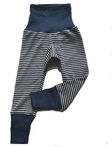 Cosilana Baby Hose lang mit Bund, 70% Wolle 30% Seide (Streifen Blau, 50/56) (Streifen Marine, 98/104)