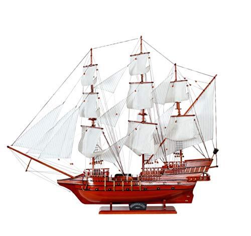 ZFF Velero rojo Modelo Madera Barco Vintage Juguetes hechos a mano Artesanía Regalos creativos Sala de estar Dormitorio Decoraciones