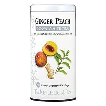The Republic of Tea Ginger Peach 100% White Tea 50 Tea Bags Fancy Peach And Spicy Ginger Tea
