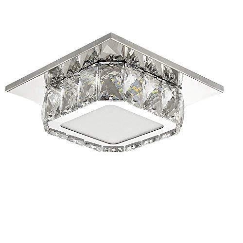 Plafoniera LED Soffitto, Lampadario soggiorno in cristallo, LED integrati 12W, Lampada moderna da soffitto per salotto o cucina, 230V IP20 6000K (Bianco freddo)