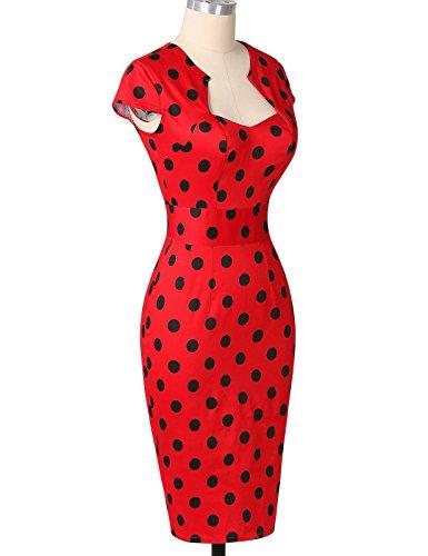 50er Jahre Kleid Vntage & Rockabilly Stil knielang kurzarm Polka Dot Kleid ~ rot - 6