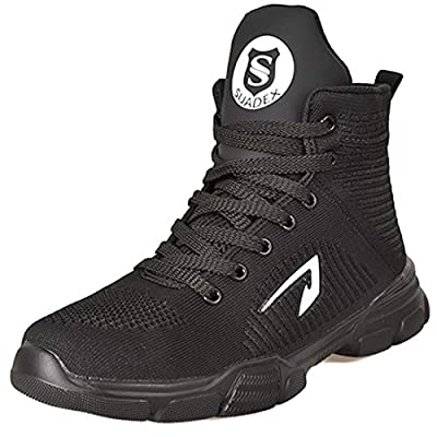 SUADEX Steel Toe Boots for Men Women Steel Toe Shoes Indestructible Slip-Resistant Work Safety Shoes Black by SUADEX
