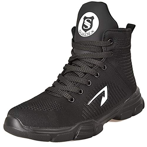 SUADEX Steel Toe Boots for Men Women Steel Toe Shoes Indestructible Slip-Resistant Work Safety Shoes Black