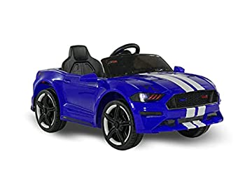 First Drive Mustang - 12V Power Battery Dual Motor Wheels- Kids Electric Ride-On Toy Car with Remote Control MP3 Music Playback Aux Cord Premium Wheels Rear Wheel Drive  Blue