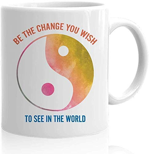 Racoste Eletina Yin Yang Coffee Mug - Be The Change You Wish - Way of Life Chinese Zodiac Horoscope Lunar Black and White Taoism Positivity Bamboo Land 11oz