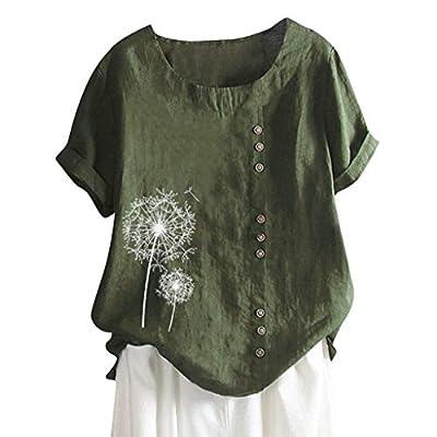 Women's Plus Size Short Sleeve Floral Print Button Down T-Shirt Summer Casual Blouse