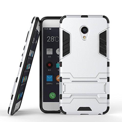 Ougger Handyhülle für Meizu MX6 Hülle Schale Tasche, Extreme Schutz [Kickstand] Leicht Armor Schutz SchutzHülle Hart PC + Soft TPU Gummi 2in1 Rear für Meizu MX6 Silber