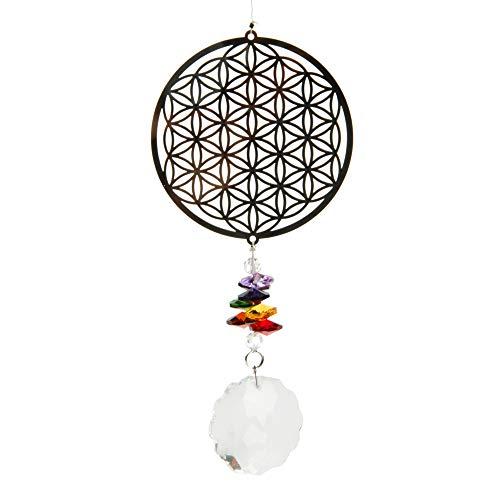aqasha Windspiel Blume des Lebens mit Glaskristall
